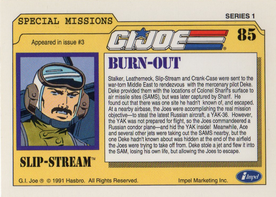 Impel Trading Card #85 - Marvel G.I.Joe Special Missions #3 - Featuring Slip-Stream